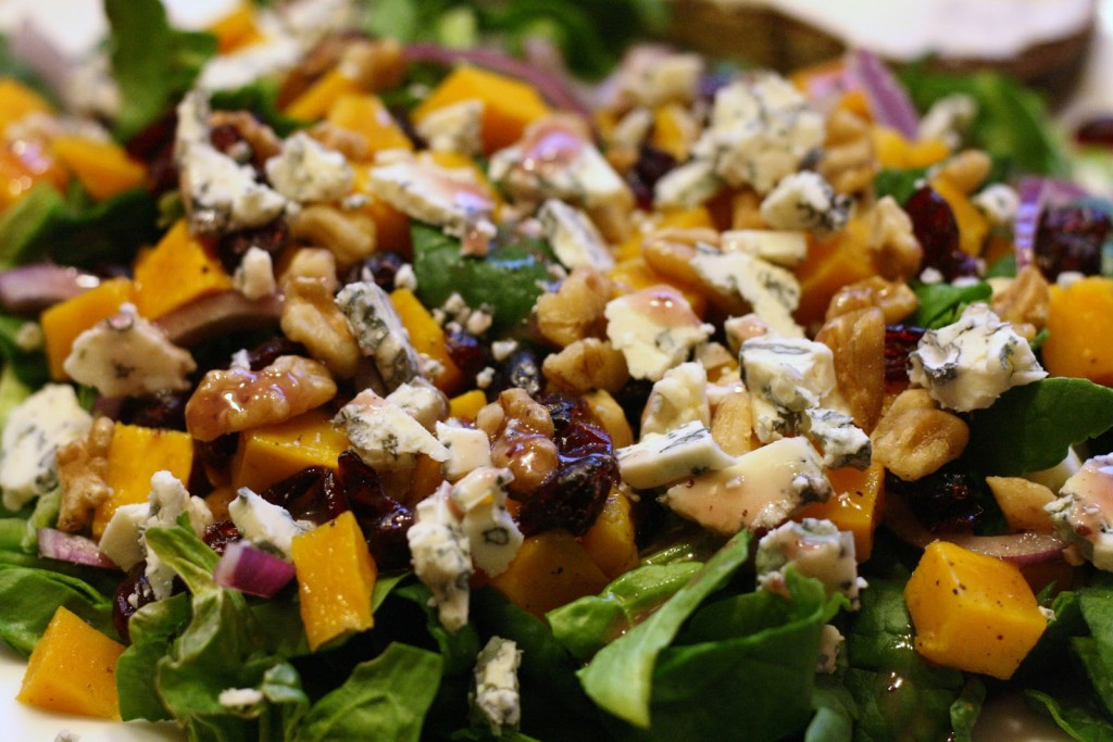 Roasted Butternut Squash Salad with Cranberries, Blue Cheese ...